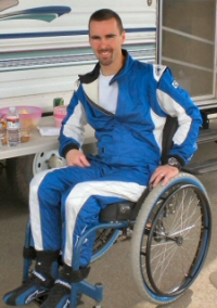Chris Blais in his Racing Fire suit
