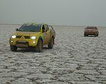 2007 Dakar Cars on the lake bed photo